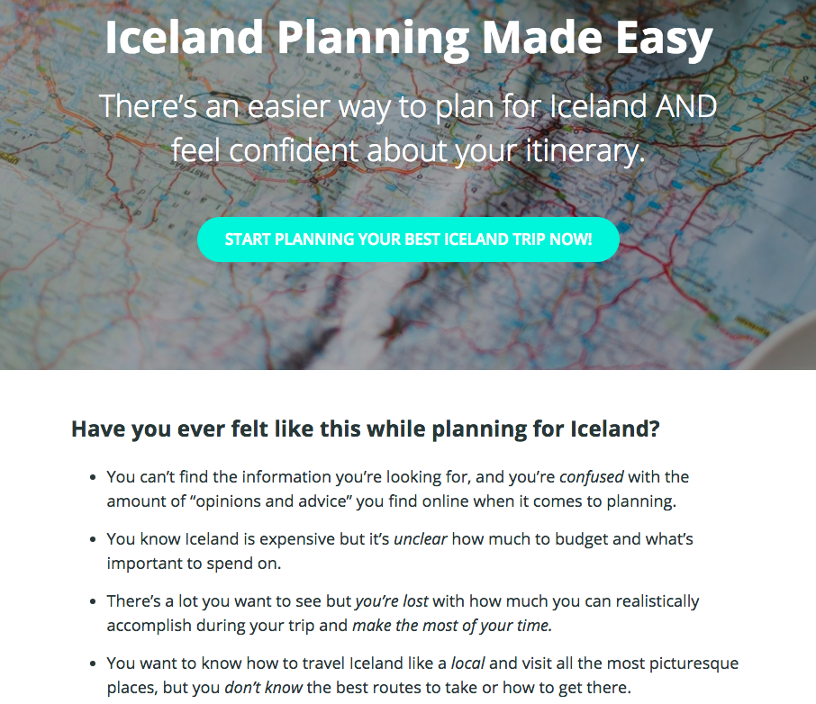Iceland Planning Made Easy Sales Page Copywriting -- The Quirky Pineapple Studio
