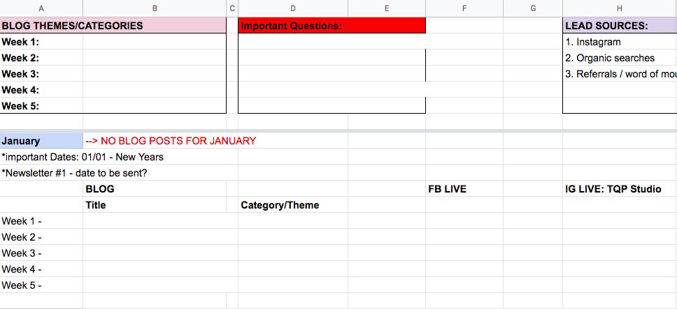 screenshot of TQP Studio editorial calendar template