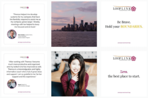 Screenshot of Instagram grid created for Loop Link Coachsulting by The Quirky Pineapple Studio for Instagram Management