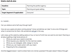 Screenshot of newsletters written and scheduled by The Quirky Pineapple Studio for Loop Link Coachsulting