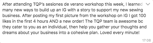 Testimonial for hands on creative workshop