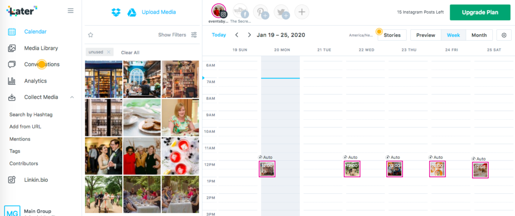 Later dashboard for Instagram