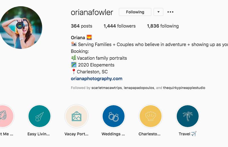 Instagram bio optimization - oriana photography