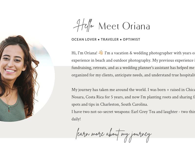 Website copy for Charleston, SC photographer - Oriana Photography