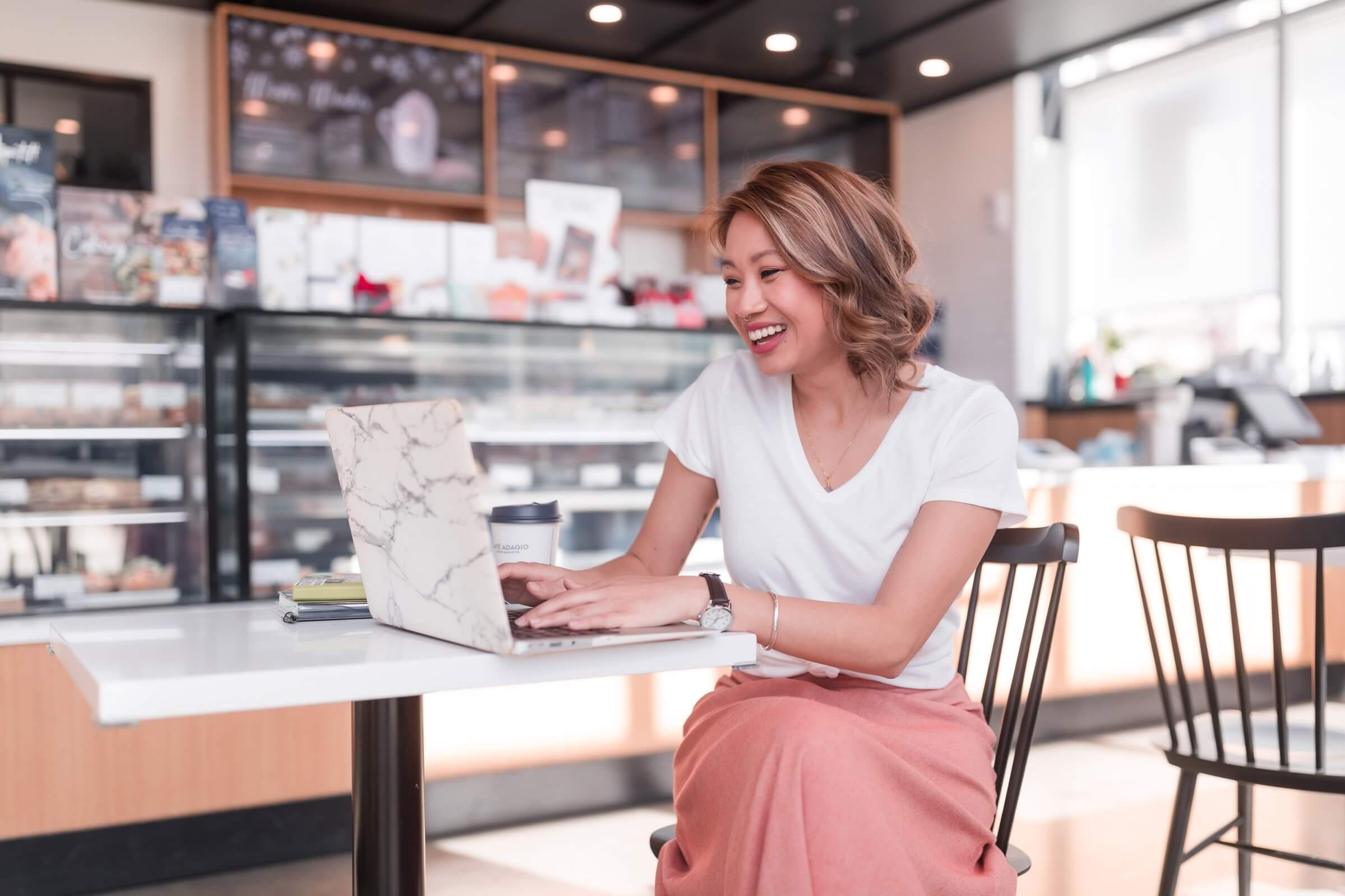 copywriter working in cafe, website copywriter for service providers, website copywriter for small businesses