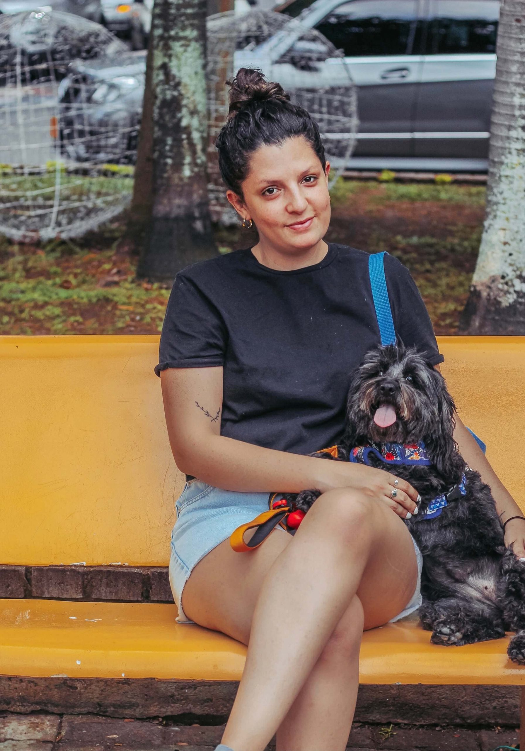 copywriter in Colombia, copywriter working remotely, copywriter sitting with dog